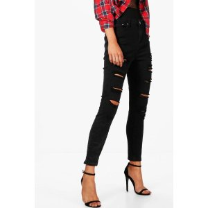 Abby High Rise Heavy Ripped Skinny Jeans | Boohoo