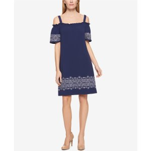Tommy Hilfiger Embroidered Off-The-Shoulder Dress, Only at Macy's - Tommy Hilfiger - Women - Macy's