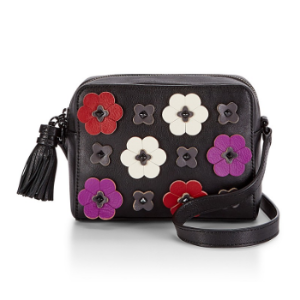Floral Applique Camera Bag | Zip Top Leather Camera Bag