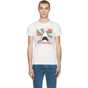 Saint Laurent: White Sweet Dreams Shark T-Shirt