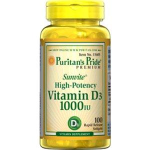 Vitamin D3 1000 IU 100 Softgels | Vitamin D Supplements | Puritan's Pride