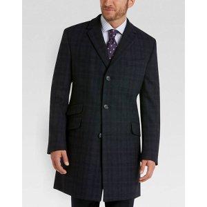 Tommy Hilfiger Navy Plaid Classic Fit Topcoat - Men's Topcoats   Men's Wearhouse