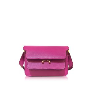 Marni Cassis Saffiano Leather Mini Trunk Bag