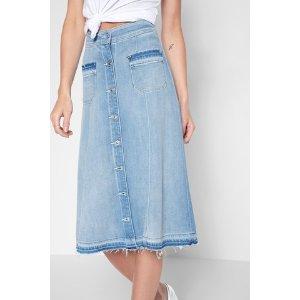 Midi Button Front Flowy Skirt in Coastal Blue