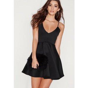 Strappy Skater Dress Black | Missguided