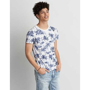 AEO Print Crew T-Shirt, Soft Blue | American Eagle Outfitters