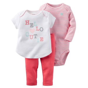 Baby Girl 3-Piece Babysoft Bodysuit Pant Set | Carters.com