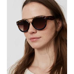 Double Bridge Tortoiseshell Print Round Sunglasses | LOFT
