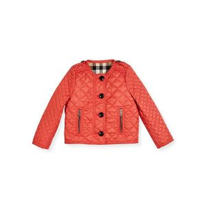 Burberry Nalla Quilted Collarless Jacket, Red, Size 4-14