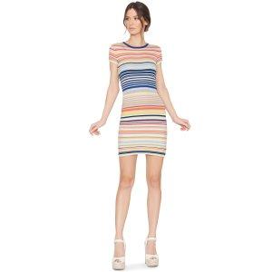 Hayden Short Sleeve Fitted Stripe Dress | Alice + Olivia