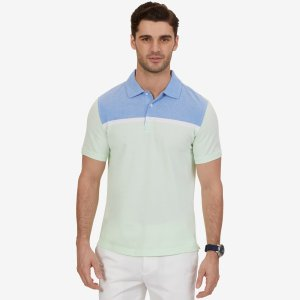 Classic Fit Color Block Polo Shirt - Green Spruce | Nautica