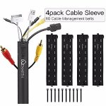 Cable Management Sleeves & Cable Ties,4 Pack