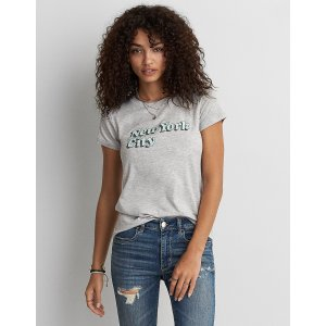 AEO Soft & Sexy Ringer T-Shirt, Light Heather | American Eagle Outfitters