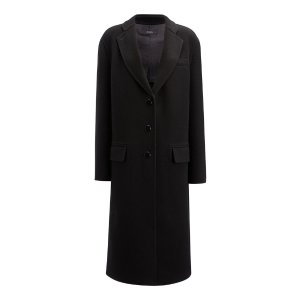Double Face Wool Simo Coat in Black | JOSEPH