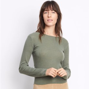 Cashmere Ribbed Cropped Crew for Women | Vince