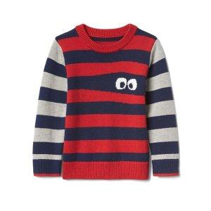 Monster stripe crew sweater