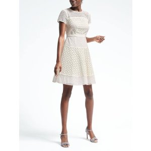 Geo Lace Dress | Banana Republic