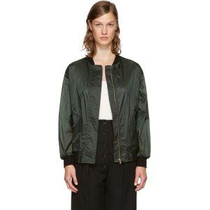 Burberry: Green Lightweight Bomber Jacket  