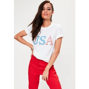 White USA T-Shirt | Missguided