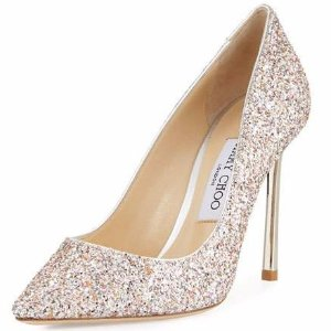 Jimmy Choo Romy Glitter Pointed-Toe 100mm Pump, Pink Metallic