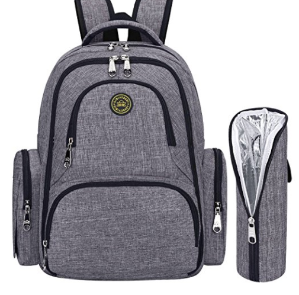 $24S-ZONE Upgraded Version Water-resistant Baby Diaper Bag Smart Organizer Backpack with Changing Pad & Stroller Clips 7 Varieties Available (Grey with Insulated Sleeve)