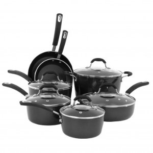 12pc Heavy Gauged Black Aluminum Cookware Set with induction