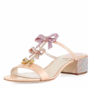 Bow Embellished 40mm Slide Sandal, Multi