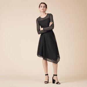 RANA Long asymmetrical lace dress - Dresses - Maje.com