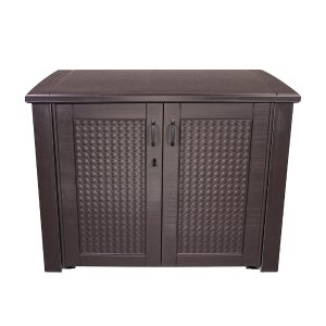 Rubbermaid 123 Gal. Patio Chic Basket Weave Patio Cabinet in Brown-1889849 - The Home Depot