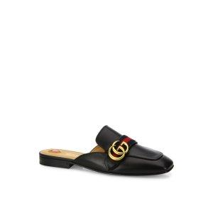 Gucci Peyton Gg Leather Flat Mules by Gucci