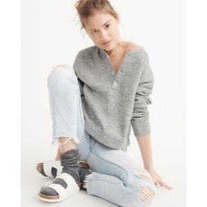 Womens Cushy Knit Henley Pullover | Womens New Arrivals | Abercrombie.com
