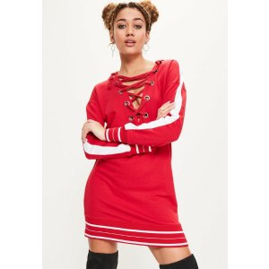 Red Contrast Stripe Hooded Sweater Dress