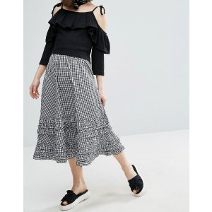 Monki Gingham Tiered Midi Skirt