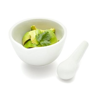 Mortar and Pestle Set with Spout, White Porcelain