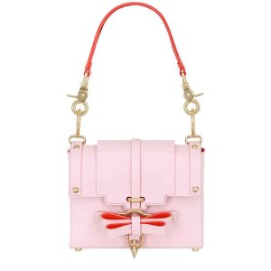 SMALL BOW BUCKLE LEATHER TOP HANDLE BAG
