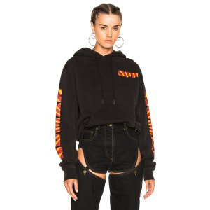 OFF-WHITE Woman Sleeve Hoodie in Black Multicolor
