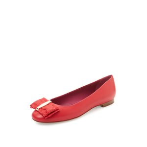 Elinda Ruffle Bow Leather Flat by Salvatore Ferragamo at Gilt