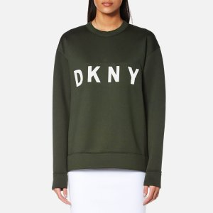 DKNY Women's Extra Long Sleeve Crew Neck Sweatshirt with Logo - Military/White - Free UK Delivery over £50