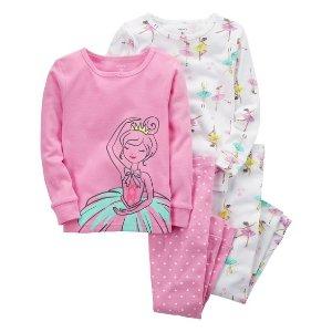4-Piece Ballerina Snug Fit Cotton PJs