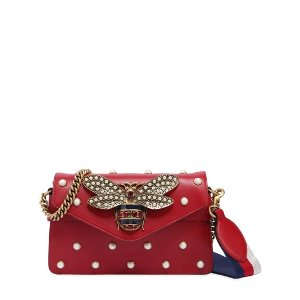 GUCCI - BROADWAY BEE EMBELLISHED LEATHER BAG - SHOULDER BAGS - RED - LUISAVIAROMA