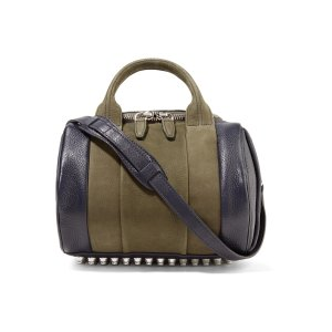 Alexander Wang Rockie two-tone suede, nubuck and textured-leather shoulder bag