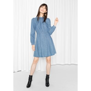 Waisted Dress - Blue - & Other Stories