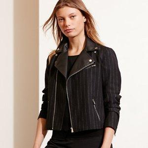 Pinstriped Wool Moto Jacket - Leather & Suede � Coats & Jackets - RalphLauren.com
