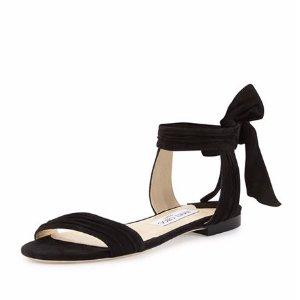 Jimmy Choo Kora Suede Flat Ankle-Wrap Sandal