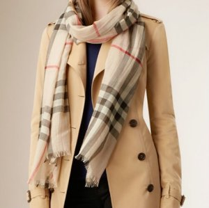 EXTRA $36 OFF BURBERRY Check Wool Silk Scarves@JomaShop.com