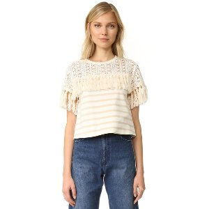 See by Chloe Striped Fringe Tee | 15% off first app purchase with code: 15FORYOU