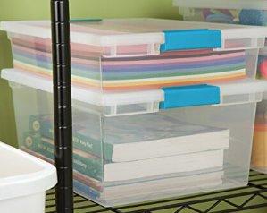 $17.50Sterilite 19658604 Deep Clip Box, Clear with Blue Aquarium Latches, 4-Pack
