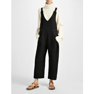 Double Cotton Crepe Wells Jumpsuit in Black