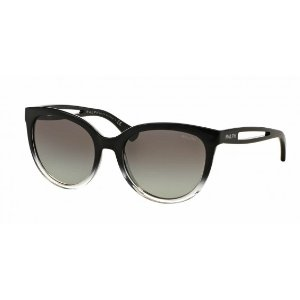 Black and Gray RA5204 Prescription-Ready Sunglasses with 100% UV Protection and Gradient Crystal Frame from Ralph Lauren | Focus Camera