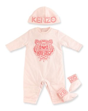 Kenzo Cotton Logo Coverall, Hat & Booties, Size 9 Months